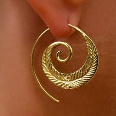 E0447 Ethnic Round Spiral Drop Earring Gold Color Love Heart Whirlpo G
