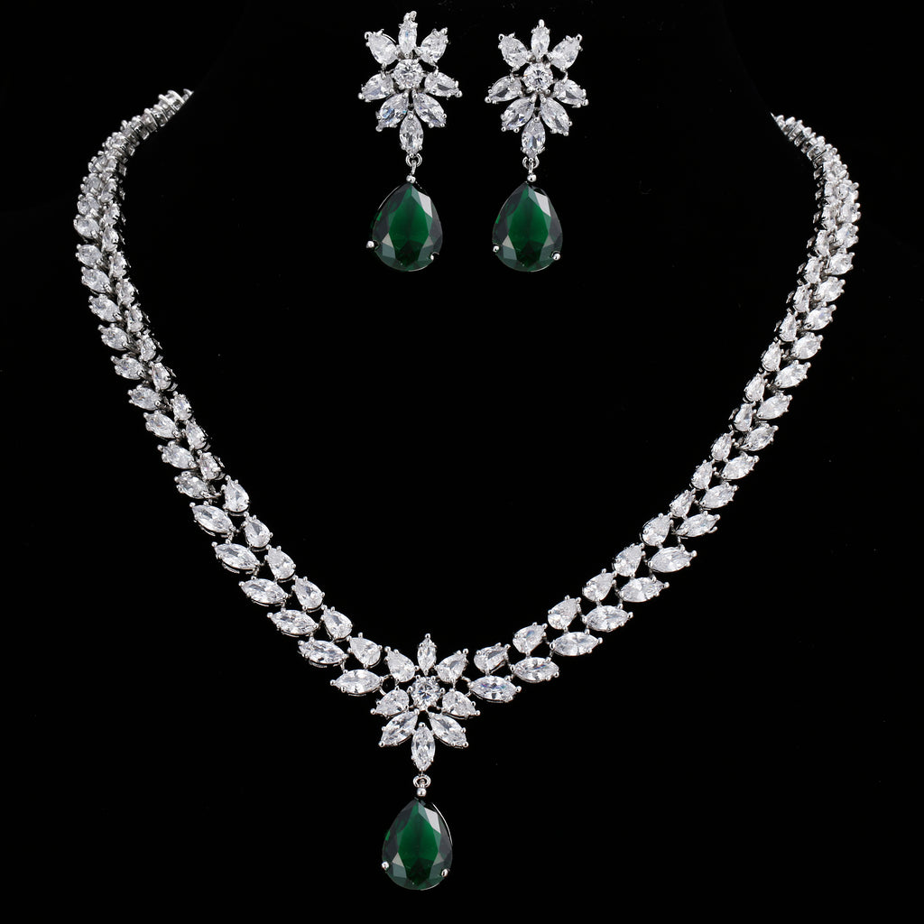 EMMAYA Romantic Trendy Set Jewelry Flower Design Water Drop CZ Wedding Jewelry Sets For Brides Silver-color Jewelry