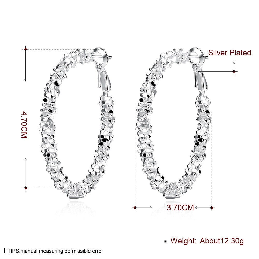 Earrings Online Shopping Hot Sale Silver Plated 3.7*4.7CM Big Round Circle Hoop Earring Fashion Jewellery for Women Party