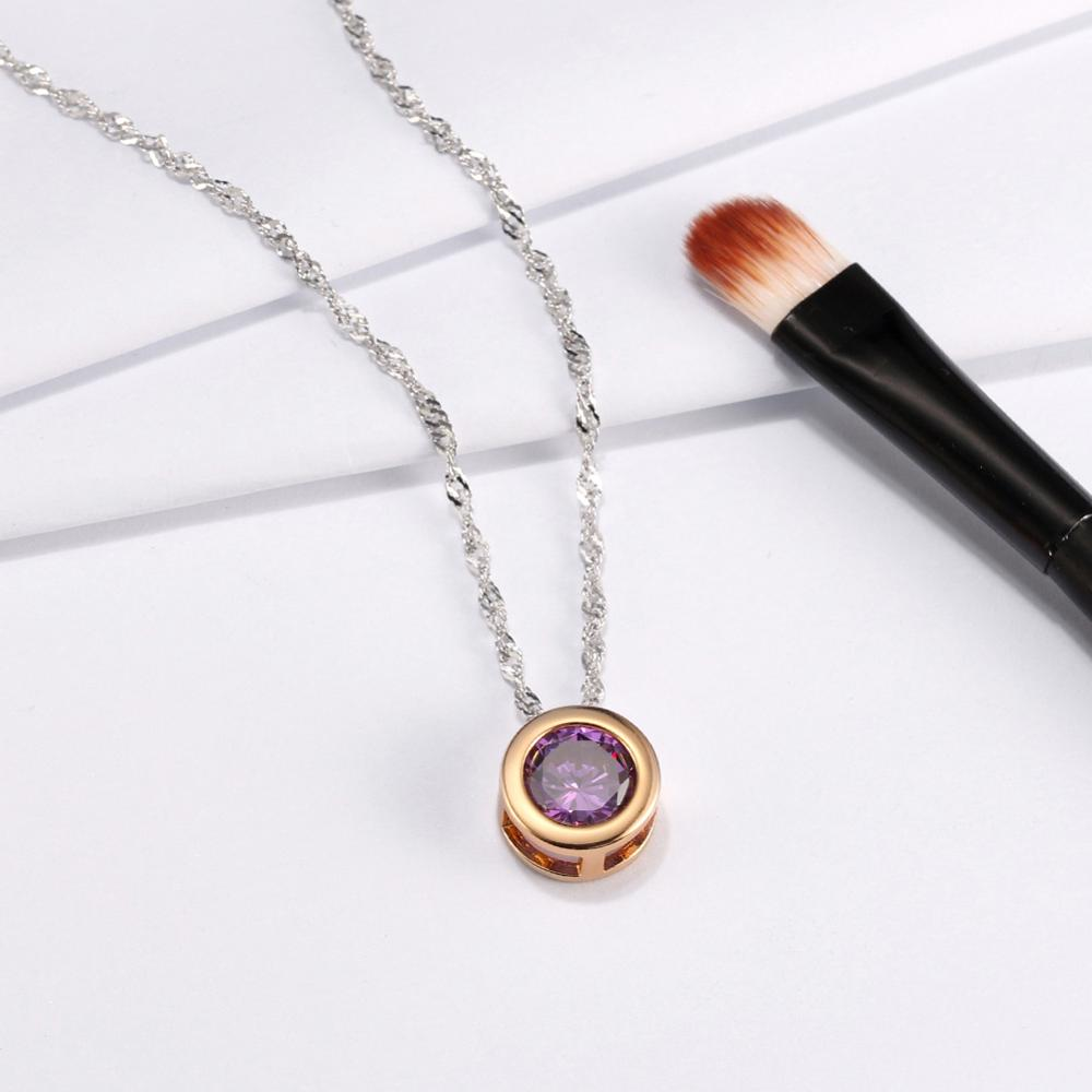 Women Necklace Cute Little Round Pendant Necklace with Shining Austrian Zircon Silver Color Necklace PN74