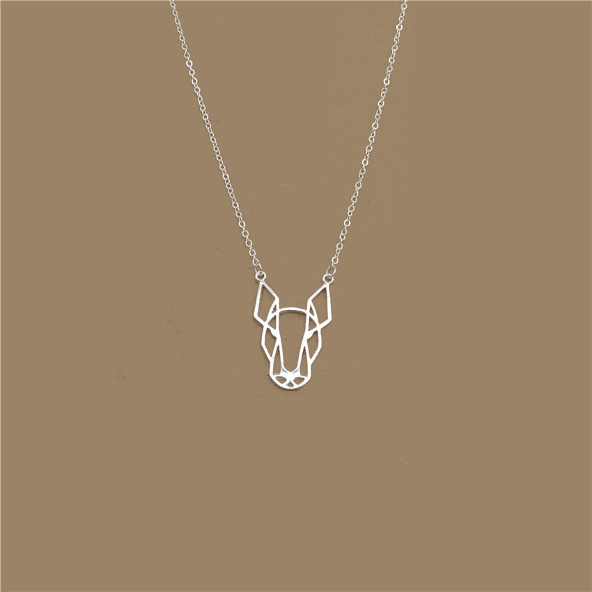 Elfin 2018 Hollow Bull Terrier Necklace Gold Color Silver Color Dog Jewellery Blslterrier Pendant Necklace Women Steampunk