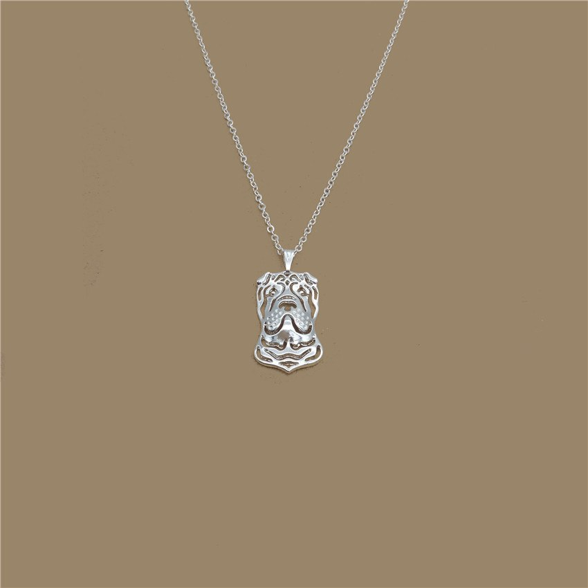 2020 Trendy Chinese Shar Pei Necklace Gold Color Silver Color Dog Jewellery Pendant Necklace Women steampunk