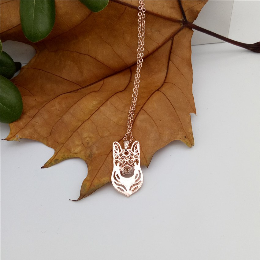 2018 Trendy German Shepherd Necklace Gold Color Silver Color Dog Jewellery Pendant Necklace Women steampunk