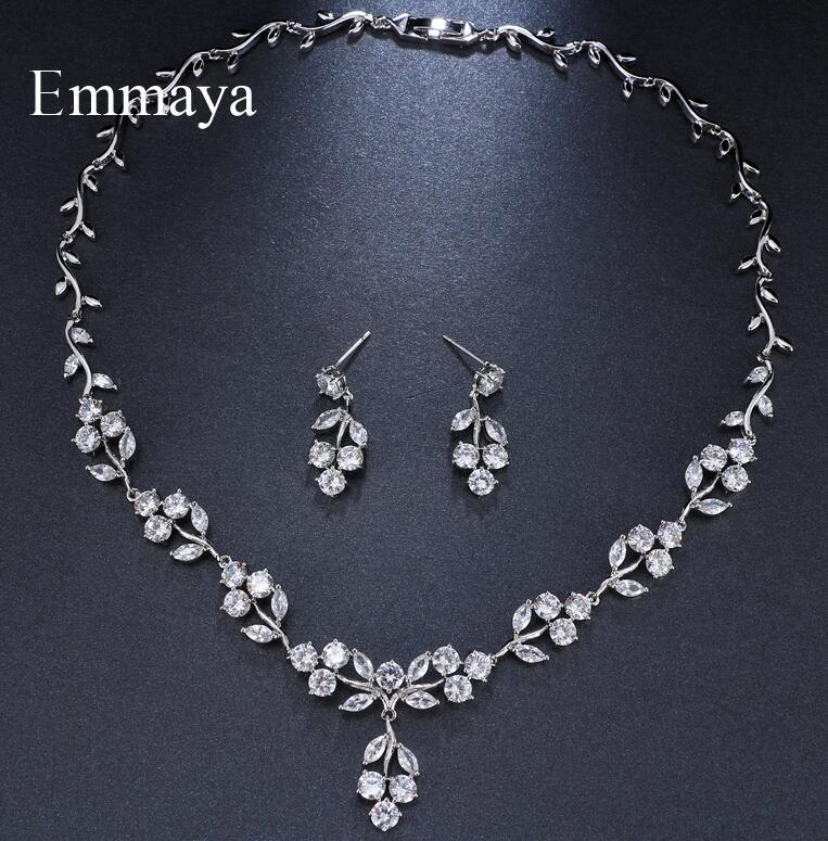 Emmaya Brand Luxury Gorgeous Cubic Zircon White Gold Color Adjustable Crystal Earrings Necklace Set For Women Bride Jewelry Gift