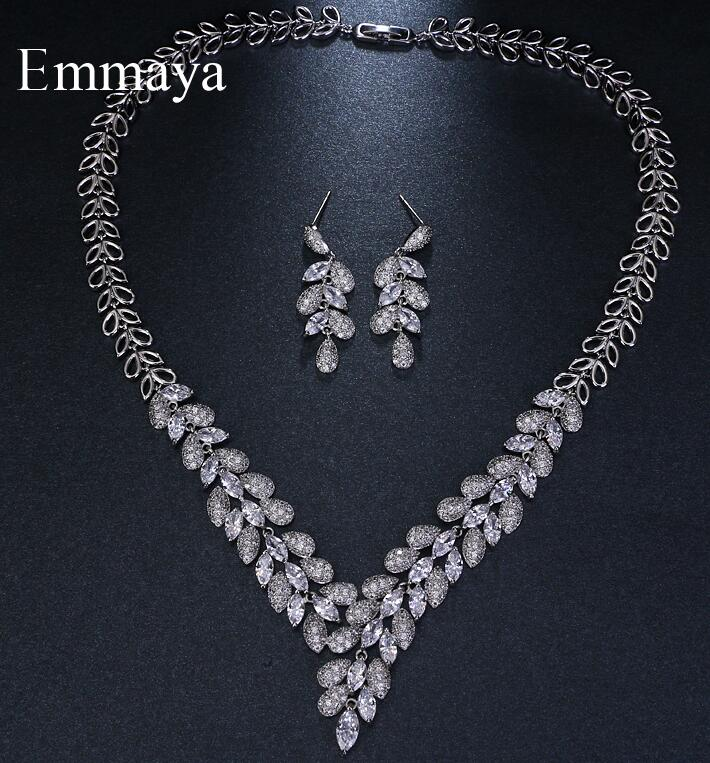 Emmaya Brand Simple Charm Leaf Shape Jewelry AAA Cubic Zircon Wedding Jewelry Sets For Lover Brides Popular Jewelry Party Gift