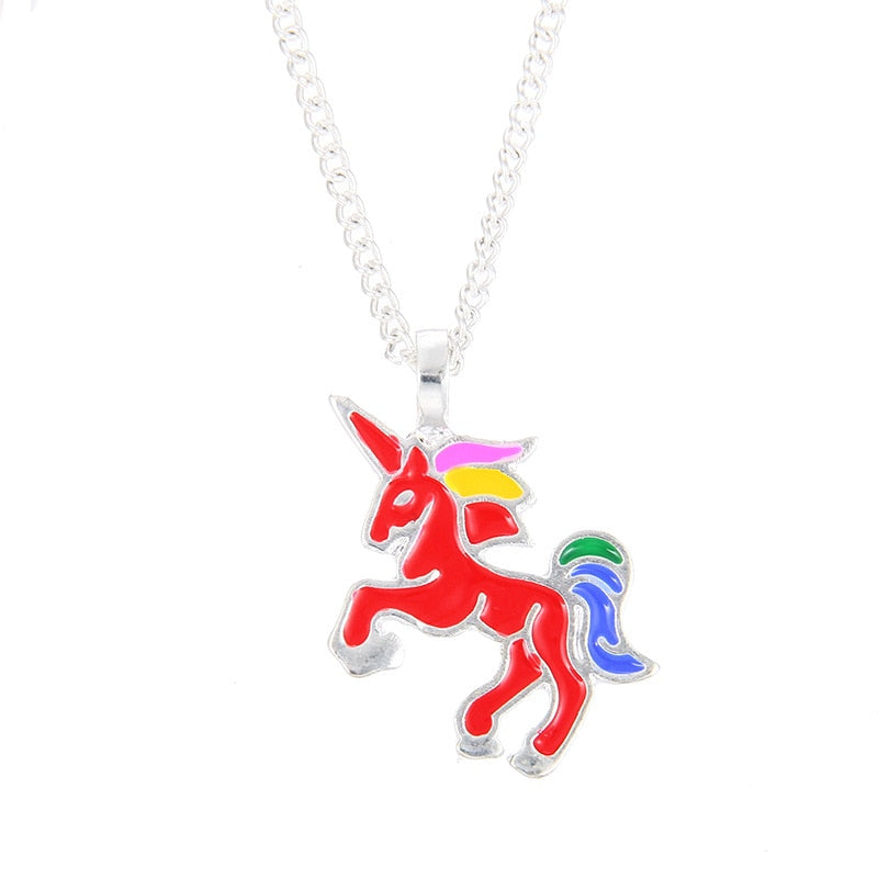 Enamel Unicorn Pendant Necklaces For Women Jewelry Silver Plated Animal Necklace Choker Collar Chains nB