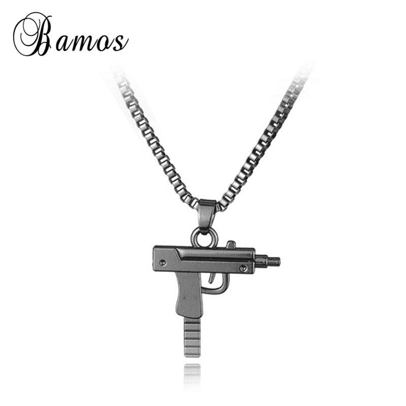 Engraved Hop For Gun Shape Uzi Pendant Fine Quality Necklace Chain Popular Fashion Jewelry for Women Men Best Gifts