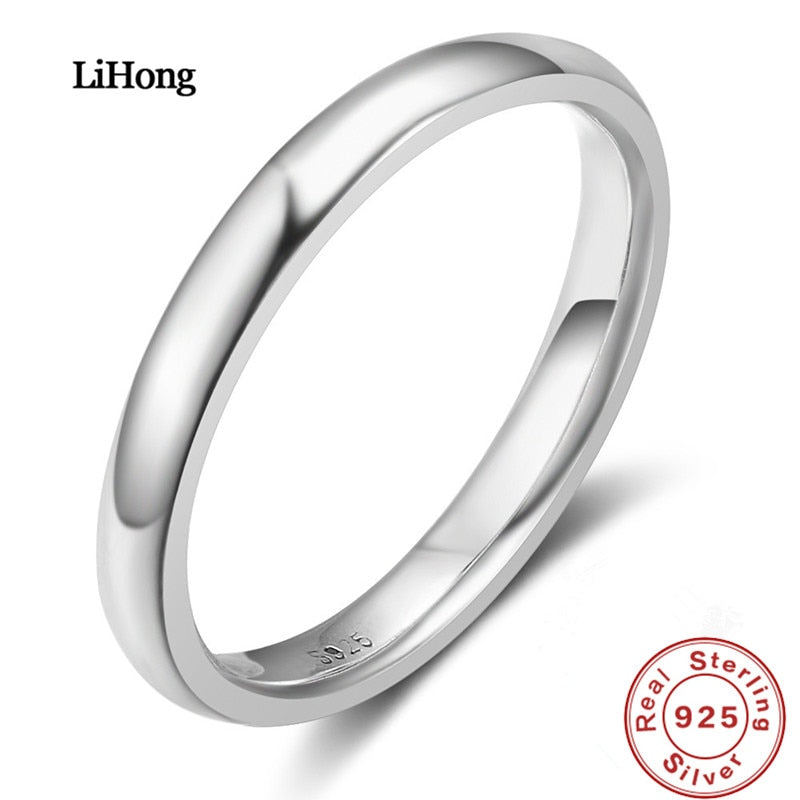 Eternal Classic 100% 925 Silver Ring Simple Glossy Lady Rings Birthd Gift