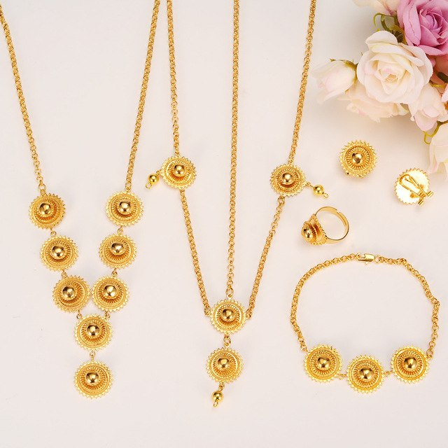 Ethiopian Set party Jewelry Habesha Necklace Earring Ring Hair Chain Bracelet Gold Color African Bridal jewelry sets women gift