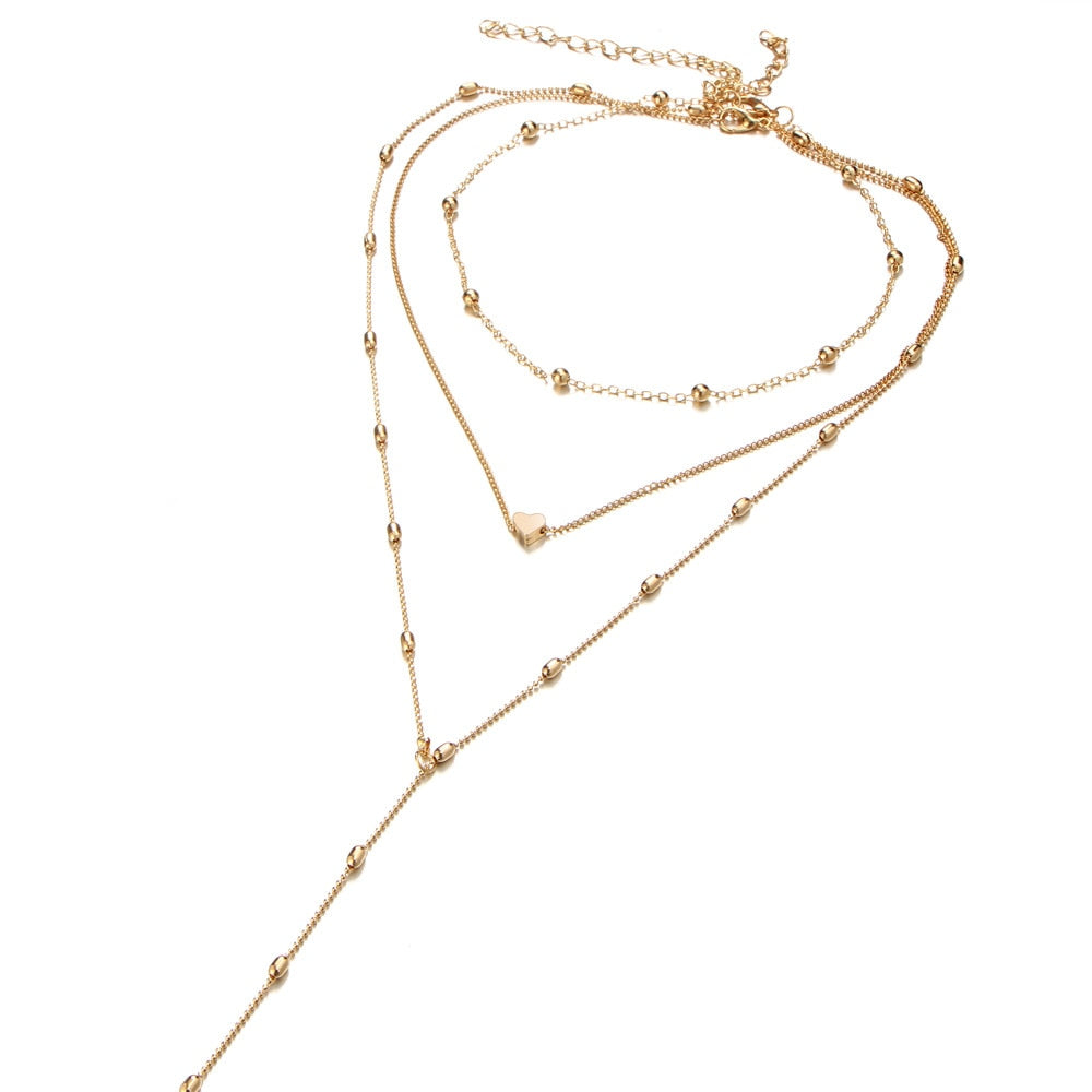 Europe Multi-layer Necklace Pendant Chain Summer Style Long Necklace Gold Silver color Pendant Chain