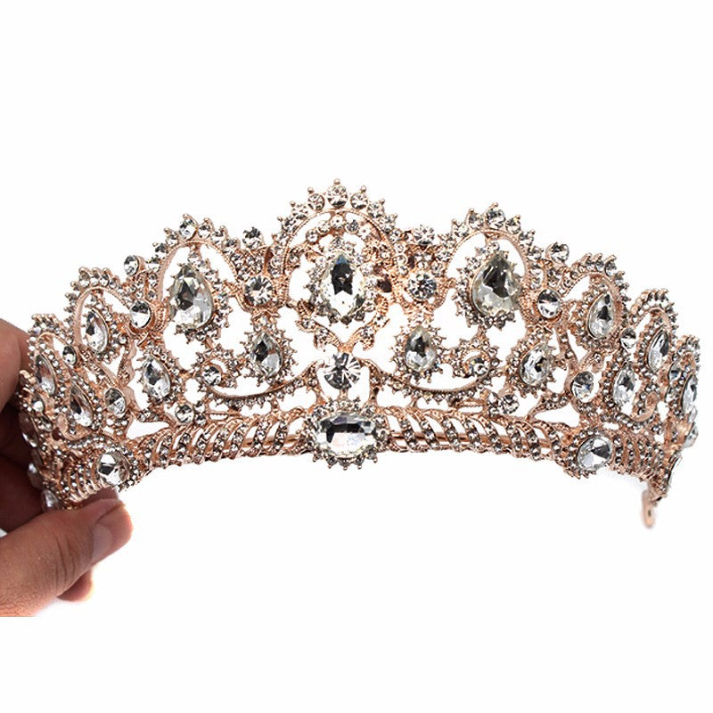 European Vintage Tiaras Silver Bridal Jewelry Quinceanera Rhinestone Crystal Crowns Pageant Wedding Hair Accessories For Brides