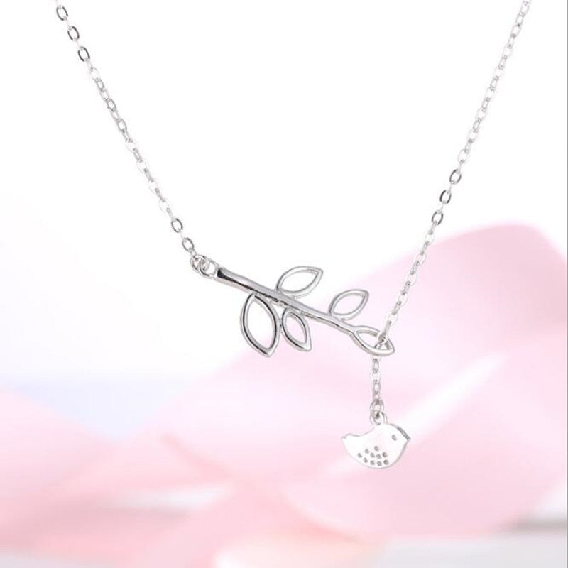Exquisite Cute 925 Sterling Silver Jewelry Fashion Simple Wild Small Bird Leaves Pendant Accessories Female Necklace H189