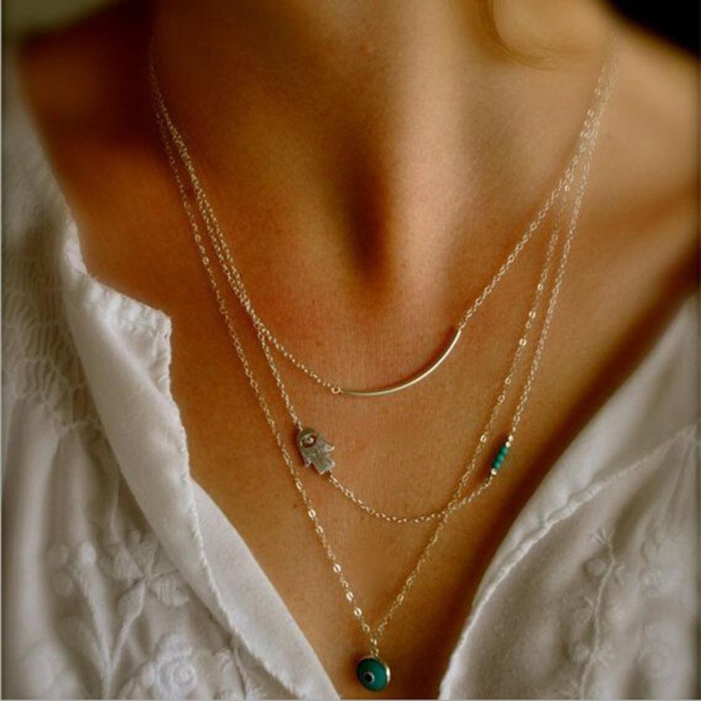 Hot Fashion Long Pendant Necklaces Gold Fatima Hand & 3 Layer Chain Necklace Necklaces