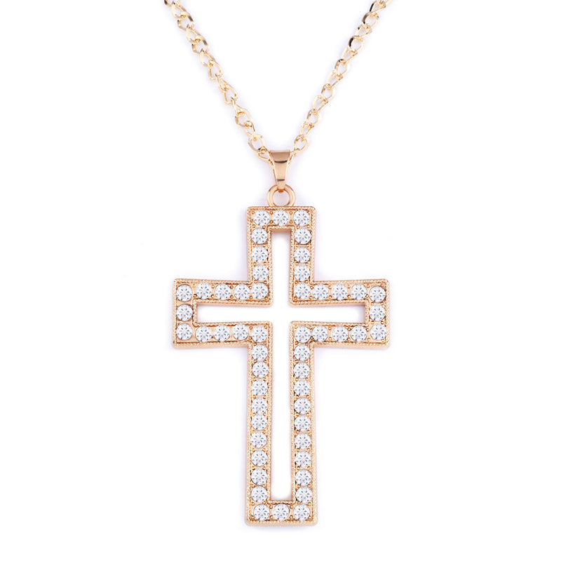 hop Silver big cross pendant long chain necklaces pendants with rhinestones for women Trendy Fashion Jewelry nkef14