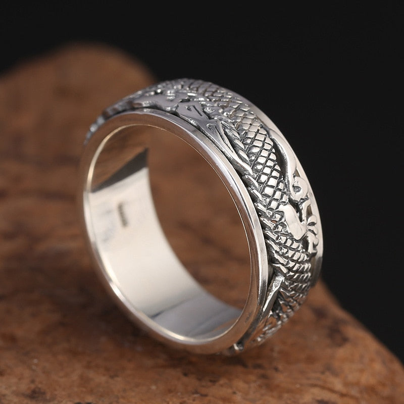 Fashion 925 Sterling Silver Chinese Dragon Rotatable Lucky Ring Men Thai Silver Fine Jewelry Gift Finger Ring ZY18-04-02