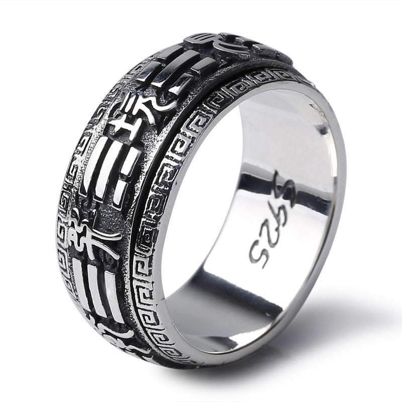 Fashion 925 Sterling Silver Heaven and Earth & Gossip Rotatable Lucky Ring Men Thai Silver Fine Jewelry Gift Finger Ring