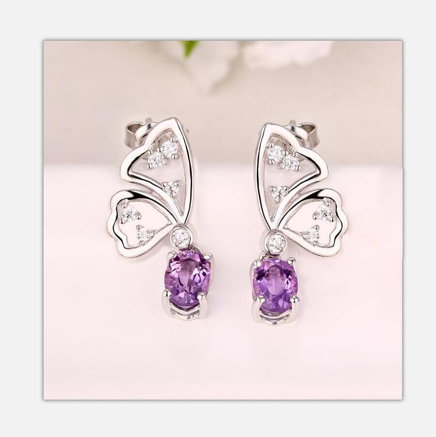 59ccf58a7 Fashion 925 sterling silver pure silver earrings Amethyst rose quartz  Butterfly earrings identification certificate. J059