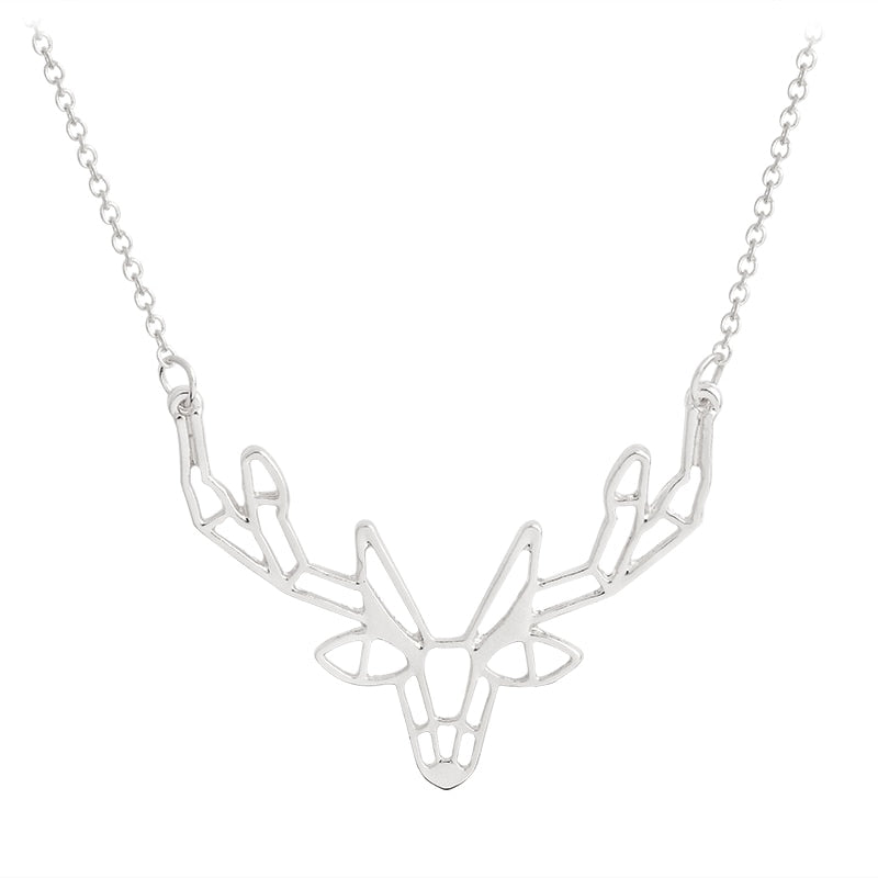 Fashion Animal Origami Deer Elk Horn Pendant Necklace Gold Silver Necklace For Women Men Sweater chain Jewelry Christmas gift