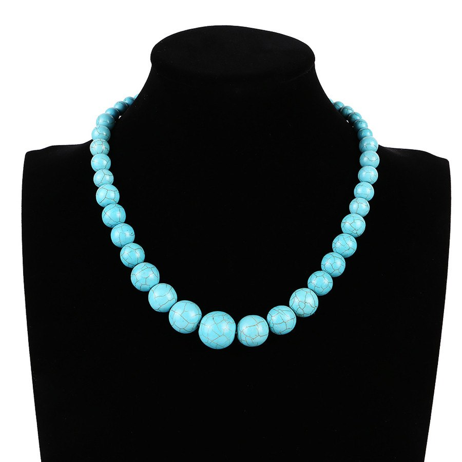 Fashion Bohemian Tribal Artisan Strand Jewelry Turquoises Blue Stone Women beads Necklace
