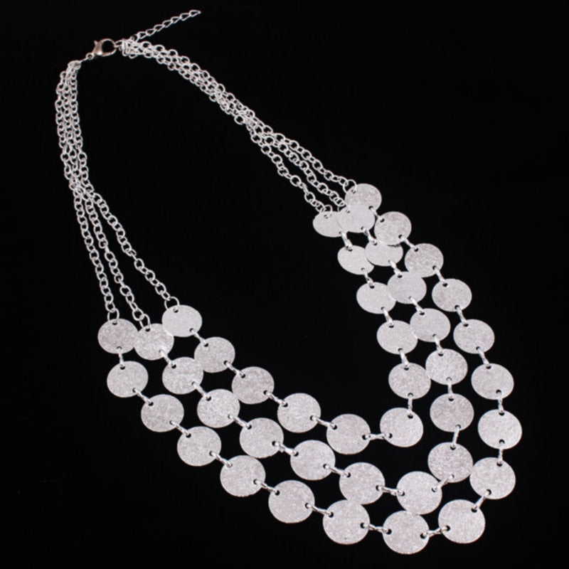 Fashion Charm Jewelry 3 Chain Metal Grind Discs Pendant Choker Chunky Statement Bib Necklace For Women