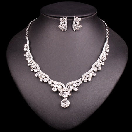 Fashion Crystal Bridal Jewelry Sets for Bride Necklace Earrings Wedding Party Costume Jewellery Set Accessories Decoration Women