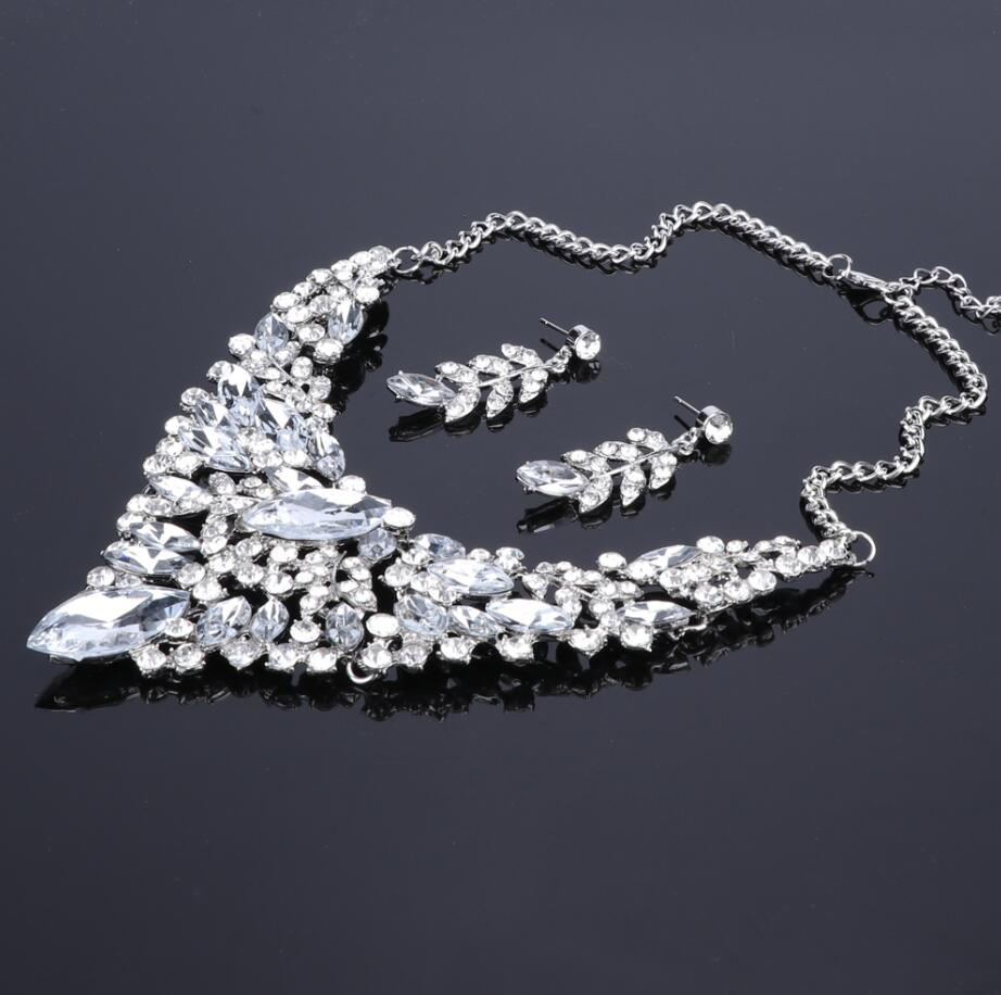 Fashion Crystal Statement Necklace & Earrings Sets for Brides Bridal Jewelry sets Wedding Costume Jewellery Accessories Women