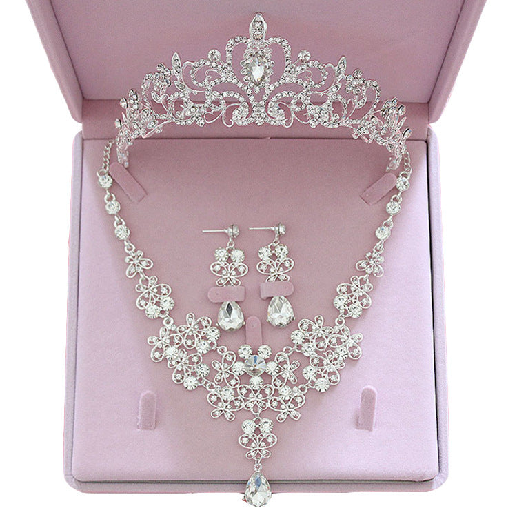 Fashion Crystal Wedding Bridal Jewelry Sets Tiara Crown Earring Necklace Bride Women Pageant Prom Jewelry Set Hair Ornaments