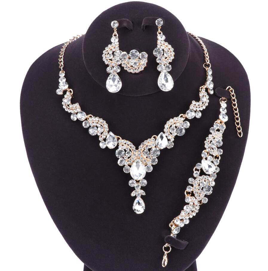 Fashion Crystal Wedding Jewelry Sets For Bride Party Costume Accessories Bridal Necklace Earring Bracelet Ring Jewellery for Wom