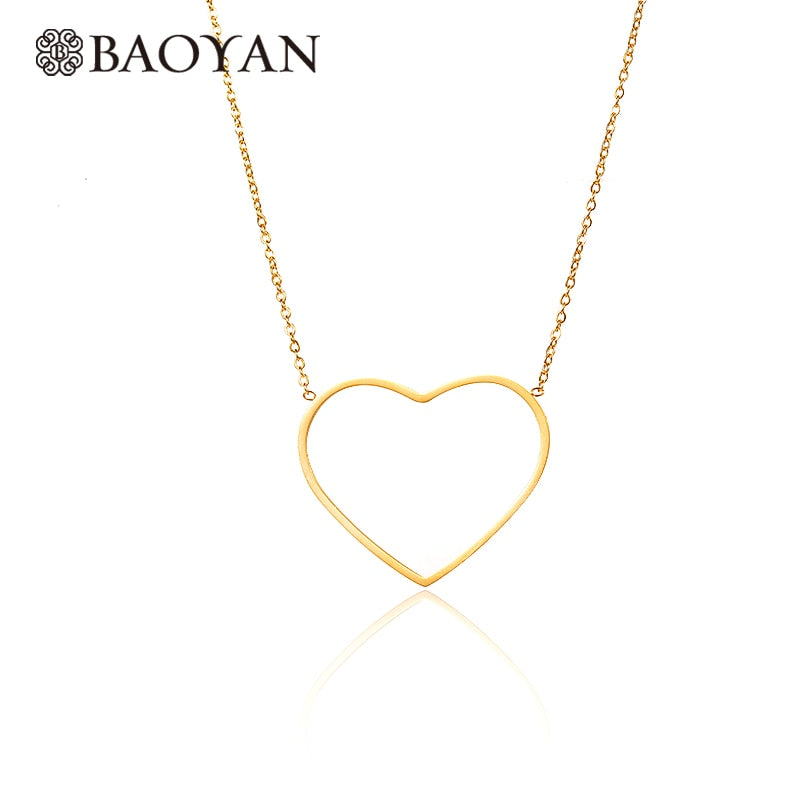Fashion Cute Chic Ladies 316L Stainless Steel Gold Color Simple Heart Pendant Necklace for Women N3