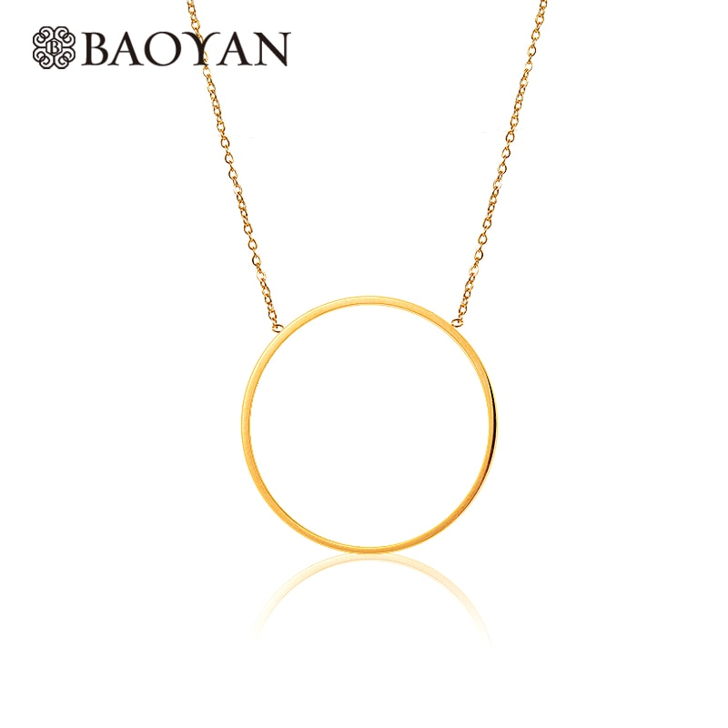 Fashion Cute Chic Ladies 316L Stainless Steel Gold Silver Color Simple Round Pendant Necklace for Women N3