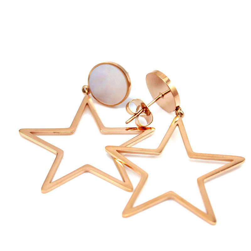 Fashion Geometric Stud Earring Lovely Rose Gold/Gold Color Stainless Steel Star Earrings Mother of Pearl Shell Women Jewelry