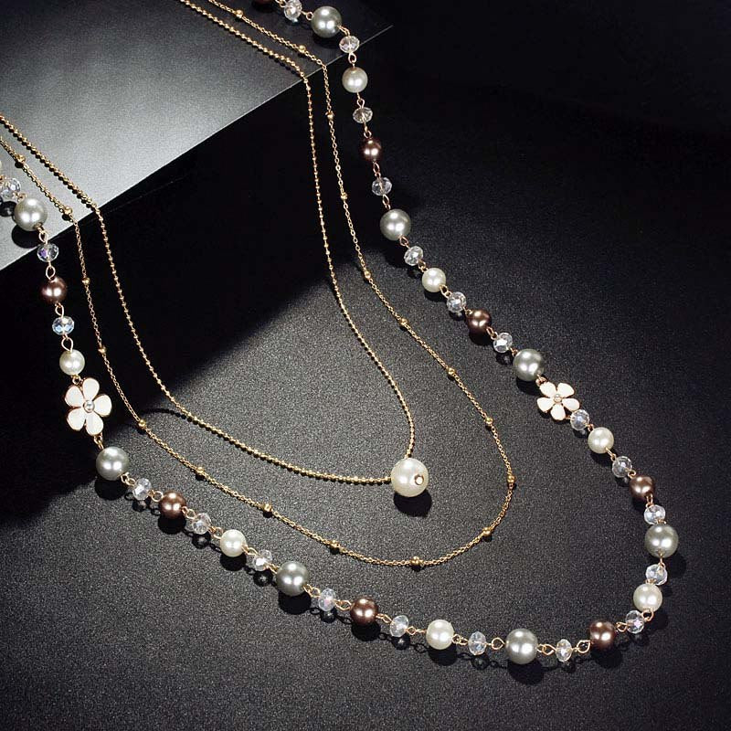 Fashion Simple Rose Gold Color Pearl beaded Necklace For Women All-Purpose Style Jewelry Long Sweater Coat Chain