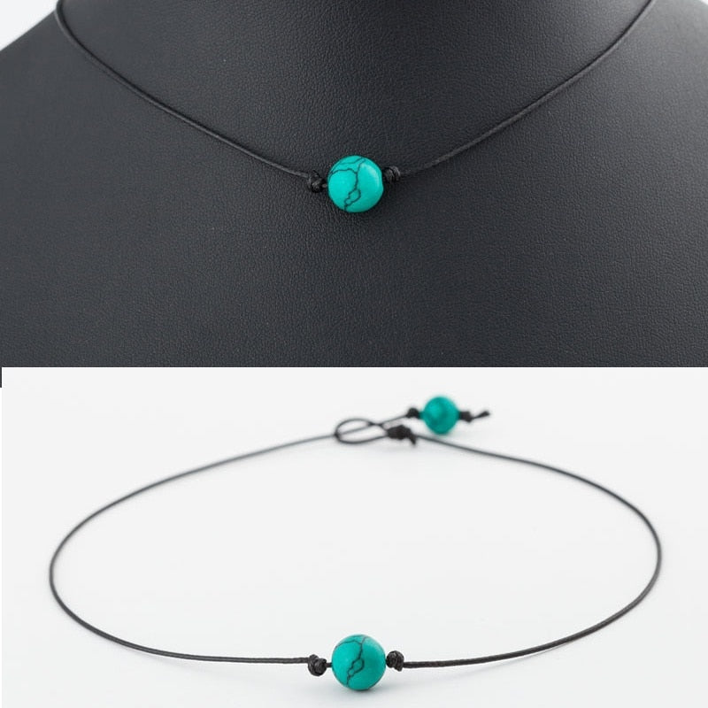 Fashion Green Or Blue Turquoises Charm Choker Necklace on Leather Cord For Women Handmade Choker Jewelry Gifts