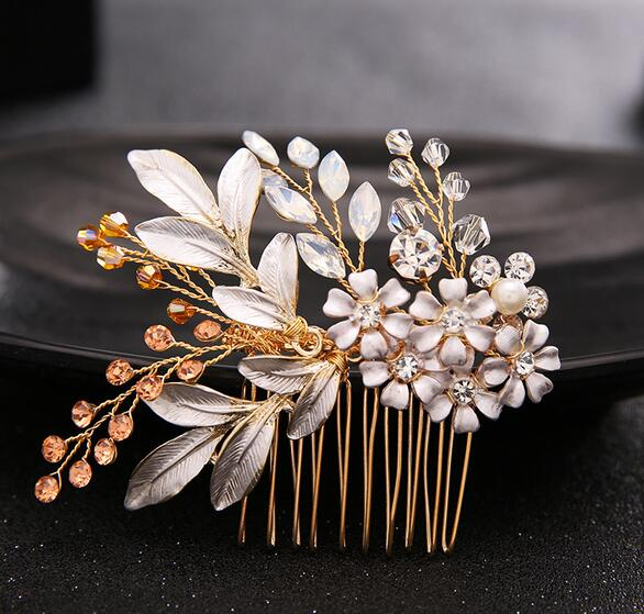 Fashion Hair Comb Wedding Hair Accessories Floral Headdress Romantic Handmade Crystal Wedding Bride Hair Jewelry Accessories
