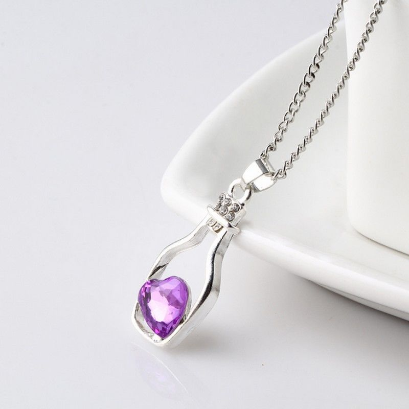 Fashion Heart In Bottle Crystal Necklace Women Metal Chain Rhinestone Silver Long Necklace Pendants Drift Jewelry Love Gift