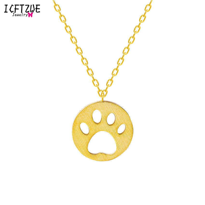 Fashion Jewelry Bear Paw Charms Gold Silver Dog Footprints Choker Kid Maxi Necklace For Women Stainless Steel Ketting Vrouwen