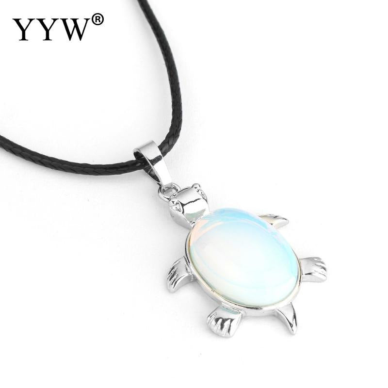 Fashion Jewelry Pendant Natural Stone Necklaces blue turquoises Turtle PU Leather Necklace for Gifts Sweater Chain