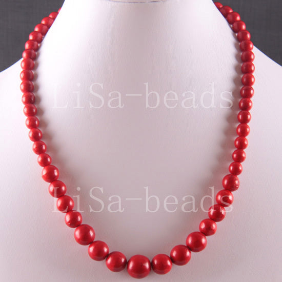 Fashion Jewelry Round Beads Red howlite Necklace 18 1Pcs E749