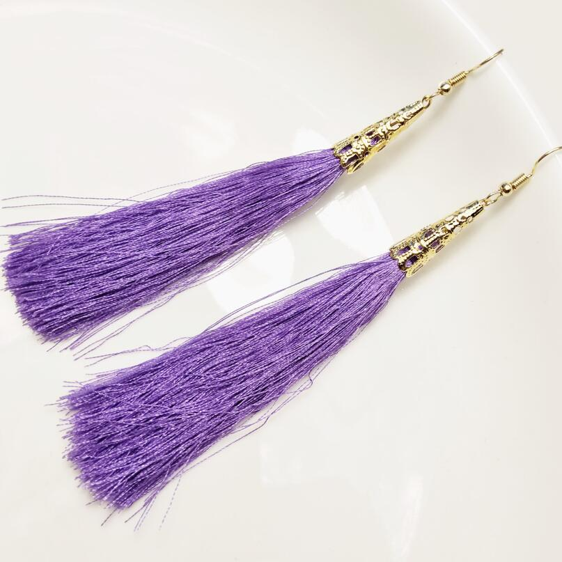 Fashion Long Tassel Earrings Women Jewelry Bohemian Bride Earrings Geometric Hollow Drop Earring