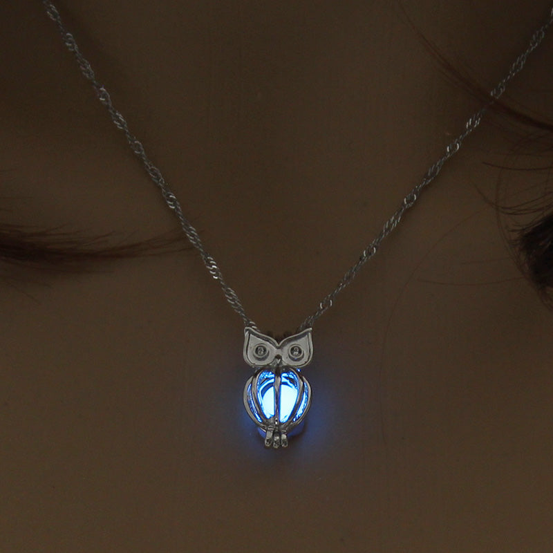 Fashion Luminous Long Necklace Women 2020 Silver Long Necklace Men Chains Owl Mens Necklaces Pendants Animals Glow In The Dark