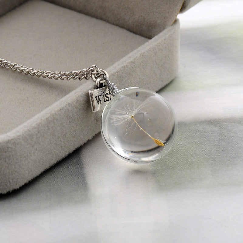 Fashion Necklaces Wish Real Dandelion Crystal Necklace Glass Round Pendants Necklace Silver Chain Choker Necklace For Women