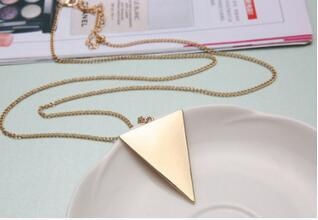Fashion Punk Gold Silver Black Plated Triangle Long Necklaces Pendants Chain For Women Female Geometric collier Sweater Jewelry