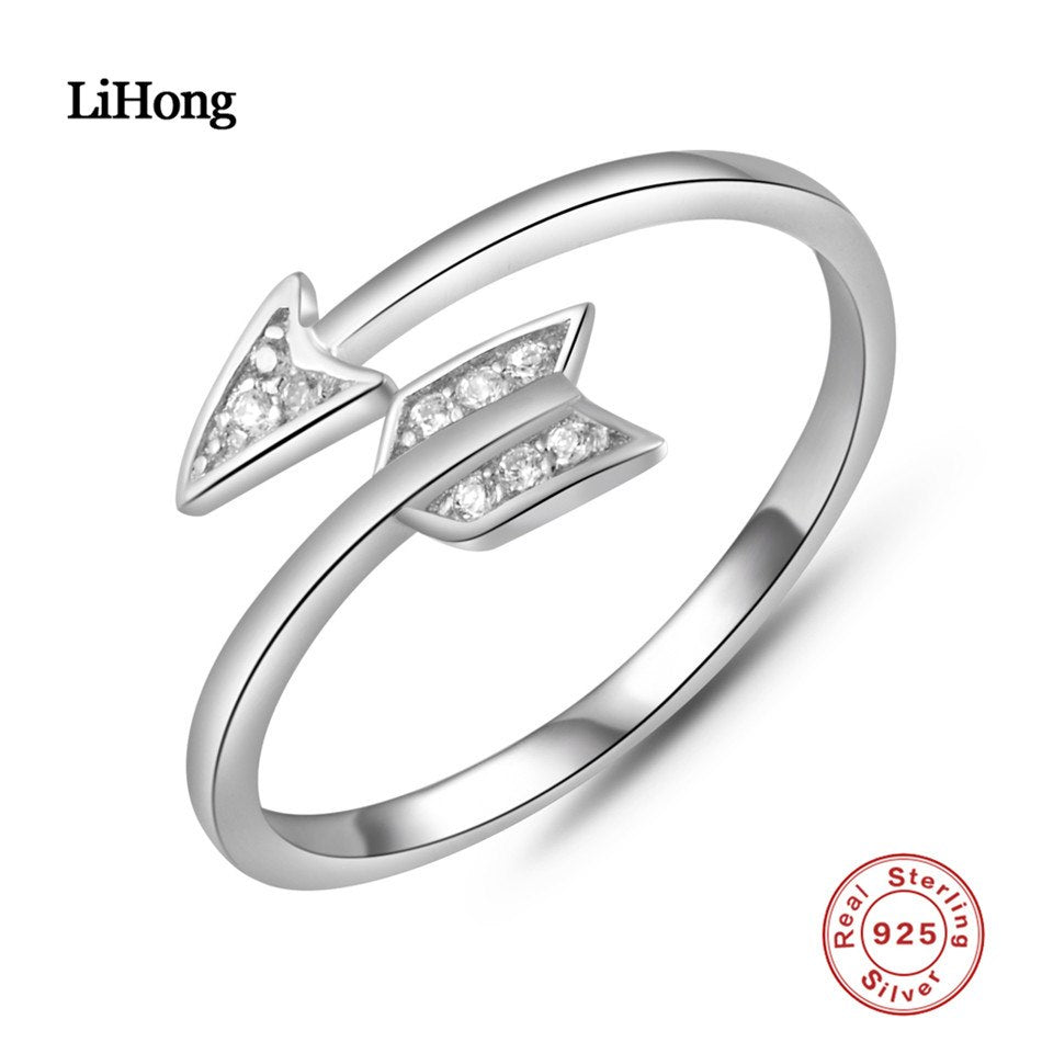 Fashion Silver 925 Adjustable Rings Arrow Design Sterling Silver Ring with Austrian Cubic Zirconia for Women