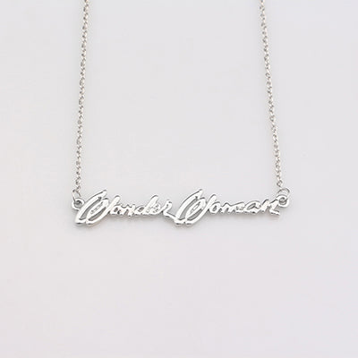 Fashion Silver Wonder Woman Name Necklace Engraved Letter Necklaces & Pendants Movie Jewelry