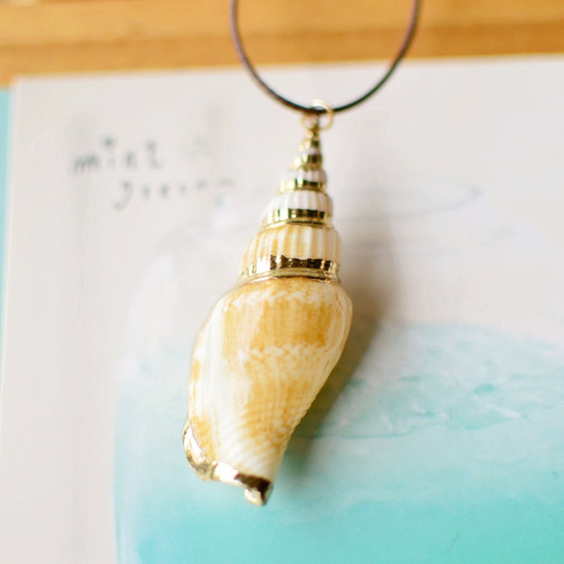 Fashion Summer Style Natural Starfish Conch Seashell Pendant Necklace