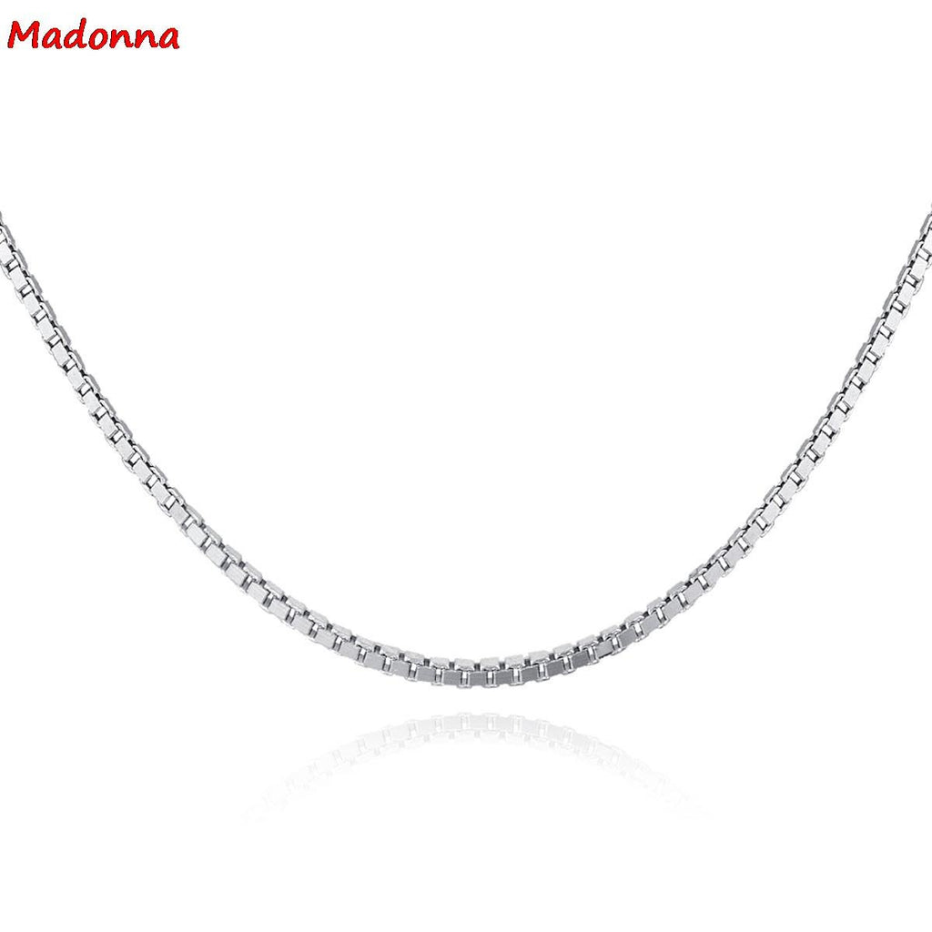 Fashion Women Rose Gold Color Necklace Chain Silver plated Boxes Chain 45cm 18 inch Female Fashion Fine Jewelry gift Wholesale