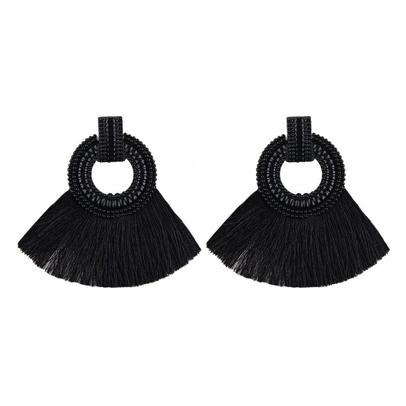 Fashion Women Tassel Earrings 2020 Brincos Boho Statement Fringe Earings Circle Vintage Fan Shape Dangle Earring Modern Jewelry
