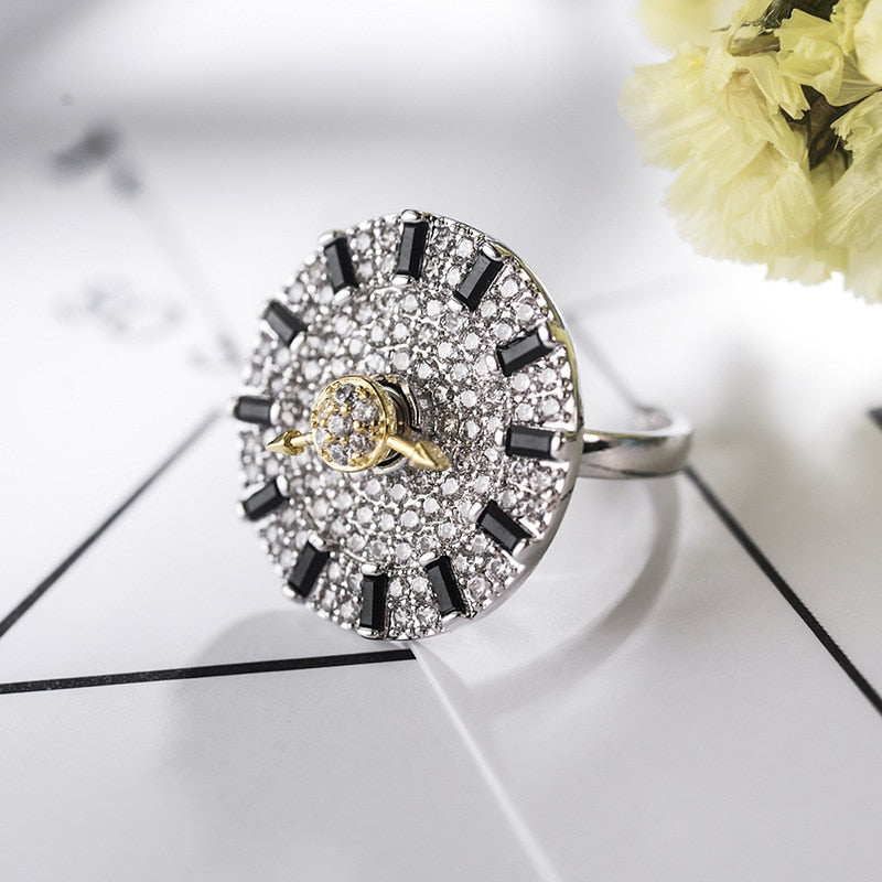 Fashion jewelry European Rotating dial ring RING Crystal From Swarovski Simple Temperament Wild Anti-allergic