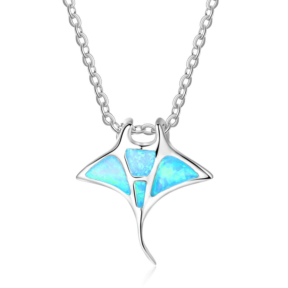 Fashion simple S925 sterling silver necklace marine devil fish pendant necklace women's necklace marine life lovers gift