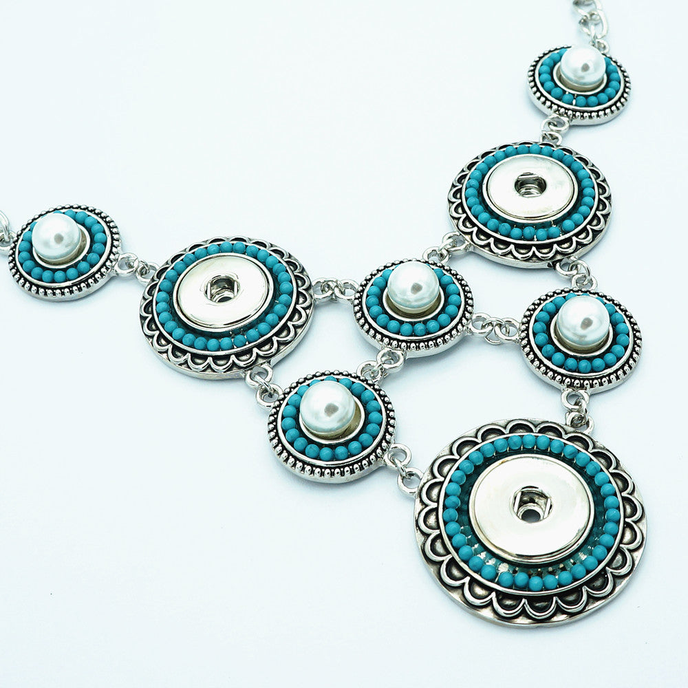 Fashion trendy Turquoises pearls beauty snap necklace 60cm fit 18MM snap buttons jewelry wholesale DJ0136
